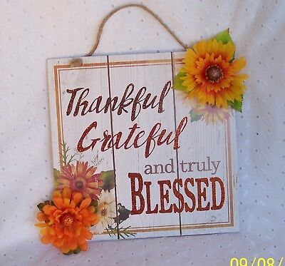 THANKFUL GRATEFUL BLESSED THANKSGIVING ~DECORATION HOME-OFFICE WALL HANGING
