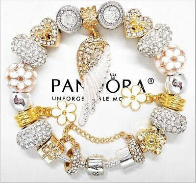 AUTHENTIC PANDORA SILVER CHARM BRACELET GOLD ANGEL WING CRYSTAL EUROPEAN -