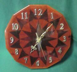 Vintage Rustic Handmade Heavy Wood Wall Clock High Gloss Finish - ± 9 diameter