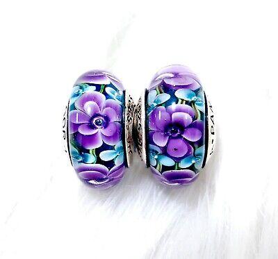 2 Authentic Pandora Silver Murano Teal Purple Rose Flower Charm Beads -