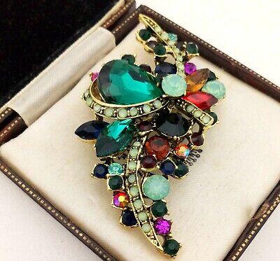 Vintage Style - Green Glass Rhinestone Encrusted Antique Bronze Brooch Pin Antique Style Brooch Pin