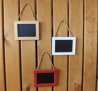 Rustic Mini Natural White Red Wooden Framed Hanging Chalk Memo Board Blackboard ()