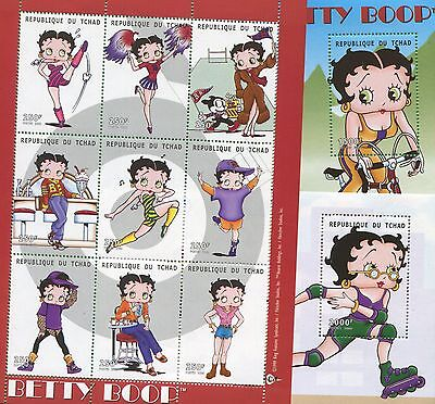 Betty Boop Cartoon Commemorative African Souvenir Stamp Sheet Set of 3 Chad E78 Betty Boop Sheet Set