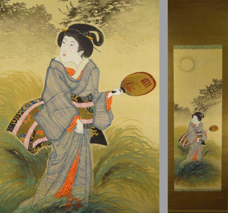 UK688 BIJINGA Beautiful Women Moon Kimono Hanging Scroll Japanese Art Picture