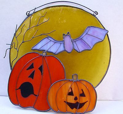 Soldered Wire Stained Glass Halloween Plaque Jack O Lantern Pumpkin Home Decor](Stained Glass Halloween)