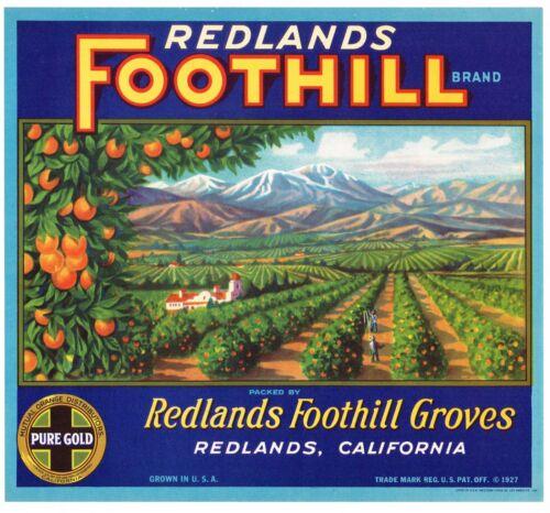 ORIGINAL ORANGE CRATE LABEL REDLANDS FOOTHILL VINTAGE GROVES CALIFORNIA 1930S K4