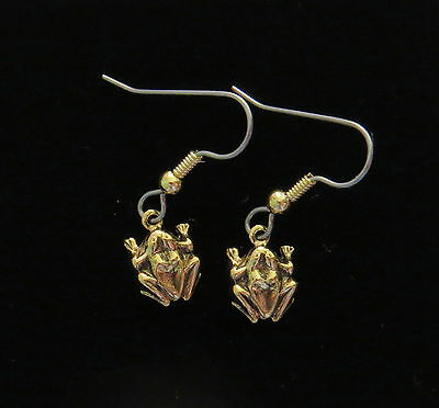 Frog Earrings Tiny 24 Karat Gold Plate Toad Bullfrog Polliwog Croaker Amphibian