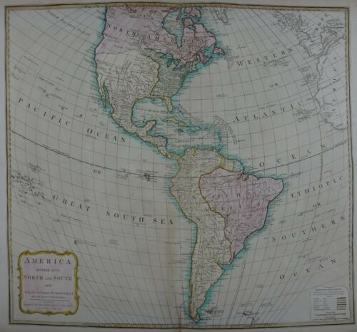 Rare Antique Map of North and South America, 1794 London: Laurie & Whittle.
