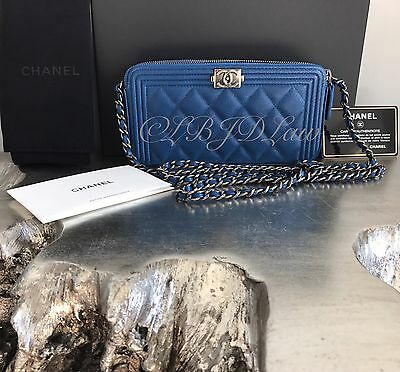 NWT CHANEL BLUE Caviar Double Zip Boy WOC Bag Camera Case Phone Crossbody Silver
