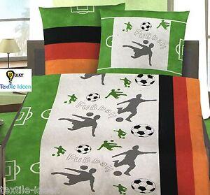 Bettwäsche 135x200 cm Fussball Deutschland naturweiß 47590 Fußball Baumwolle