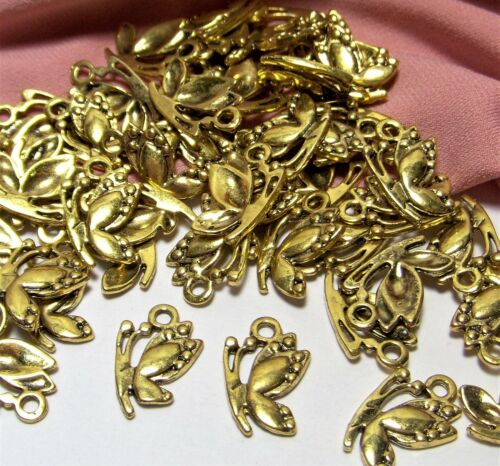 50 GOLD CHARMS-PENDANTS-BUTTERFLY-BUTTERFLIES-NATURE-JEWELRY MAKING SUPPLIES LOT