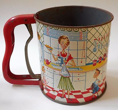 Vintage Metal Flour Sifter 3 Screen and Rock Hand-i-Sift 1950's Kitchen Family
