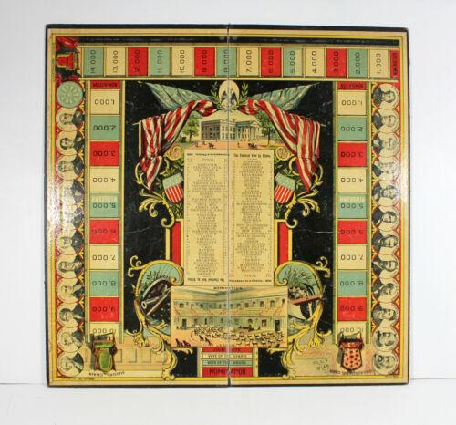 Antique Rare 1887 RACE FOR THE PRESIDENCY GAME BOARD Politics Election USA