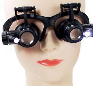 Lupenbrille LED Licht 10x 15x 20x 25x Kopflupe Stirnlupe Lupenbrille Brillenlupe