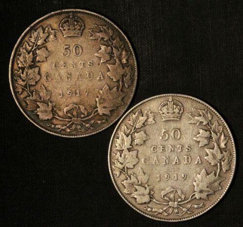 1917 and 1919 50c Canada Silver Half Dollars - Free Shipping USA