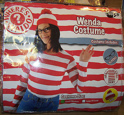 Where's Waldo Wenda Kit Halloween Costume Outfit Shirt Hat Glasses Socks (Waldo Kostüm Kit)