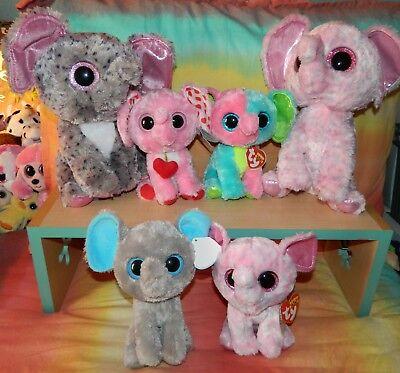 "Lot of 6 TY BEANIE BOOS Elephants NWT Specks ELFIE Tender PEANUT Ellie 6"" 9"""