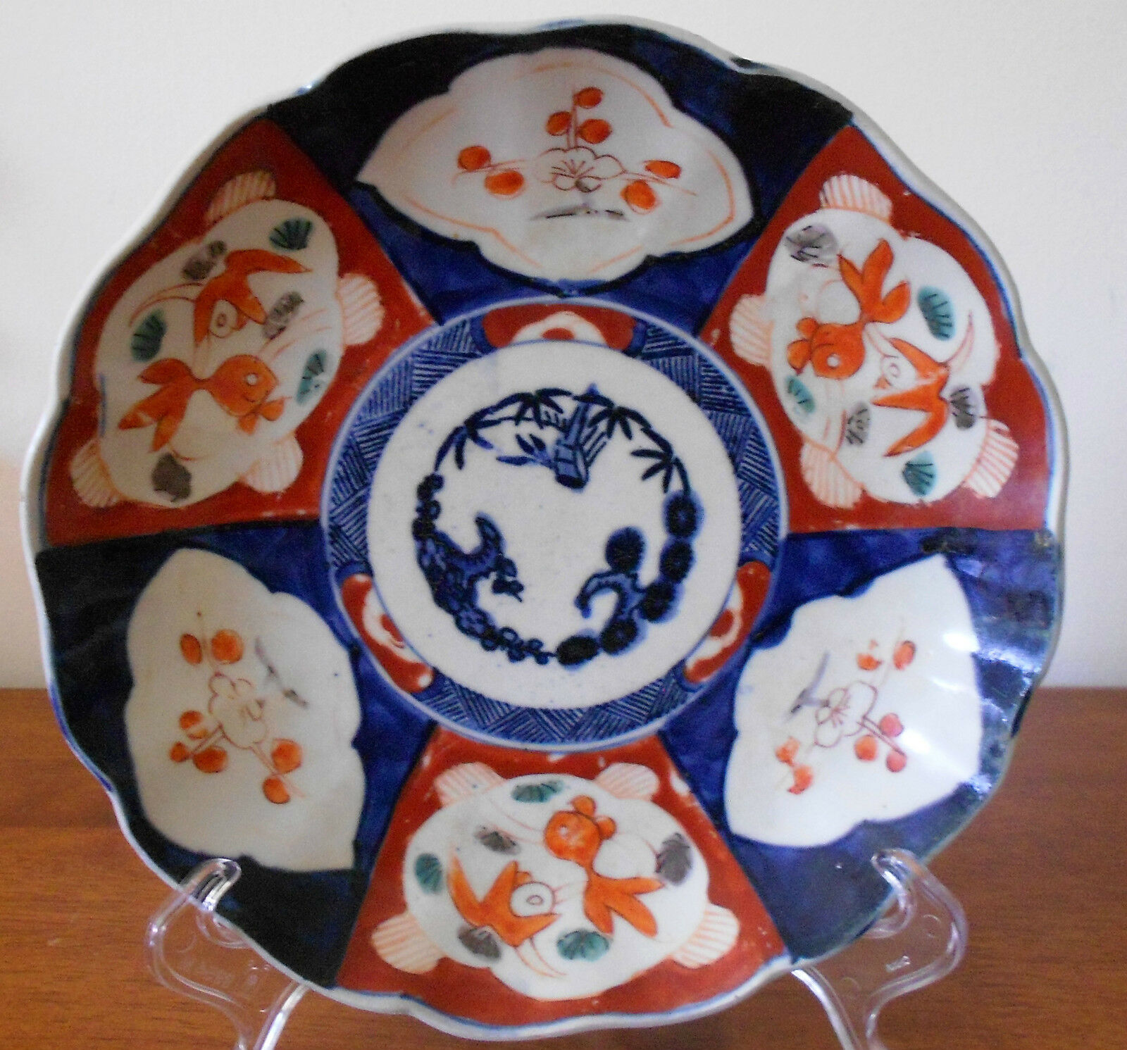 Imari Plate Koi and Blossoms late 1800s Japanese