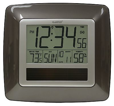 Wt 8112U La Crosse Technology Solar Atomic Digital Wall Clock In Temp   Humid
