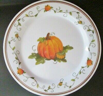 Thanksgiving Plates Dinnerware (Everyday Dinnerware Reuseable Hard Plastic Plates Fall Pumpkin)