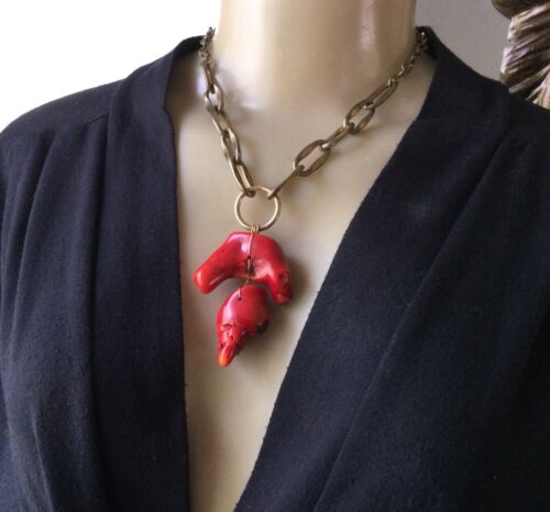 Vintage Necklace Huge Red Coral Abstract Pendant Hand Made Artisan Jewelry