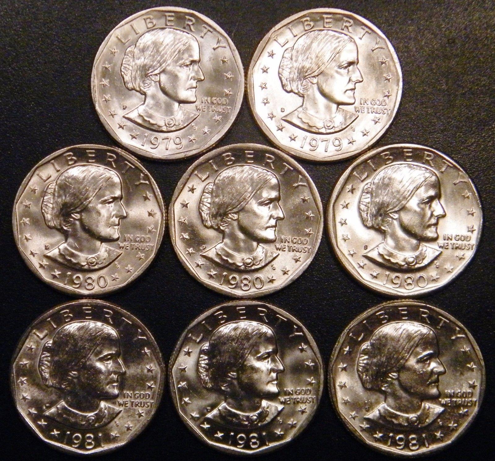 1979 1980 Susan B Anthony Dollars Souvenir 6 Coin Set P D S Mint Envelope SBA