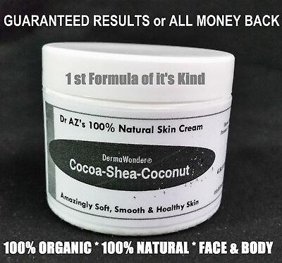 DermaWonder DRY SKIN CREAM 100%NATURAL Face/Body Butter Eczema Chapped Skin 2 oz