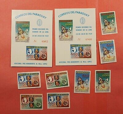 UNLISTED IMPERF + PERF 1970 PARAGUAY SPACE SET + S/S MNH