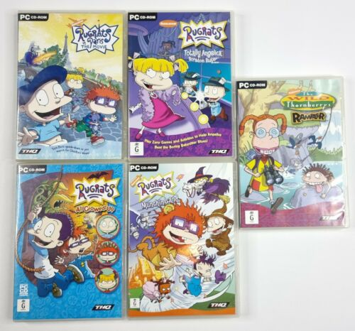 Computer Games - 5 Nickelodeon PC Computer Games Rugrats In Paris The Wild Thornberrys Rambler