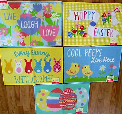 Nwt Happy Easter Printed Accent Rug 20  X 30     5 Designs Eggs Bunny Peeps