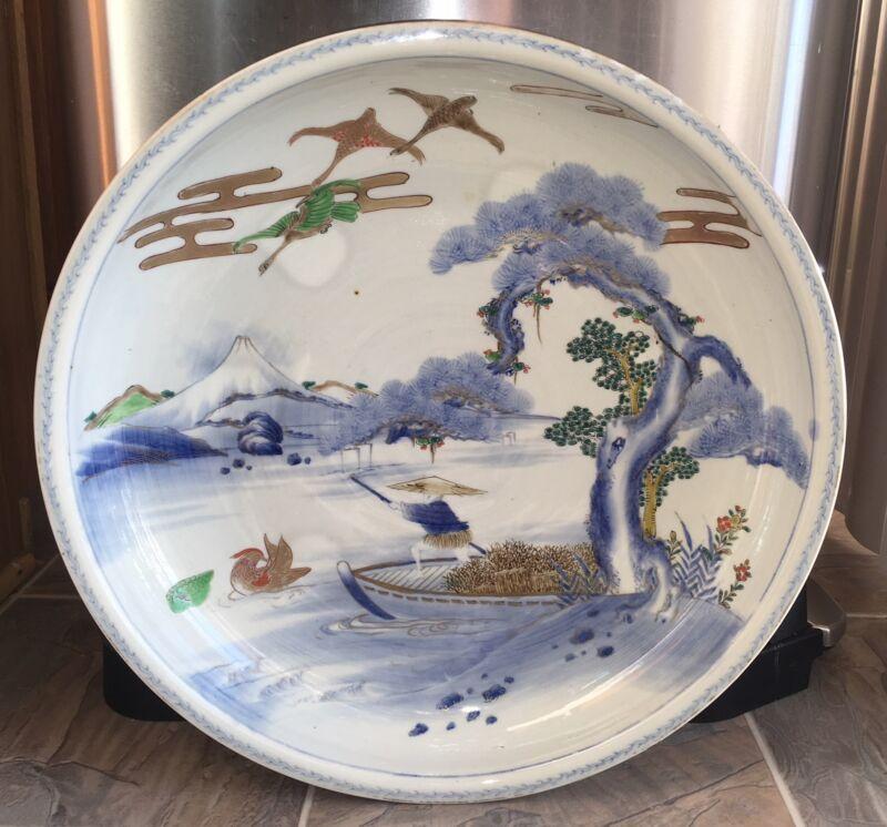 Rare Antique Japanese Large 18 Porcelain Bowl Charger Imari Arita Fisherman Fuji