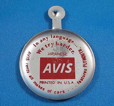 Avis Car Rental Japanese We Try Harder Slogan Folding Metal Button Pin Vintage