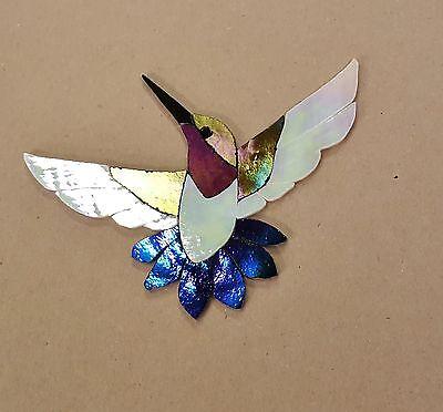 PRECUT STAINED GLASS KIT MALE HUMMINGBIRD MOSAIC INLAY GARDEN STONE CRAFT