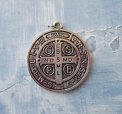 "Large Medalla De San Benito~St Benedict~Round Silver tone OX Jubilee 1.5"" Medal"