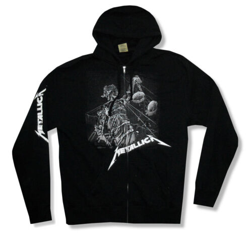 Metallica Justice Black and White Mens Black Zip Hoodie Sweatshirt New Official