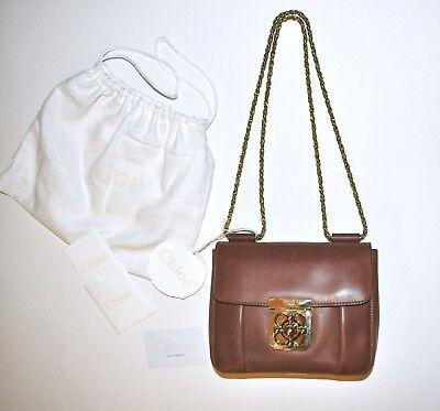 Chloe Elsie Small Square Shoulder Bag in Brown Mahogany Vegetal Leather - $1,875 for sale  Short Hills