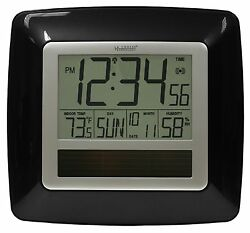 WT-8112U-BK La Crosse Technology Solar Atomic Digital Wall Clock IN Temp / Humid