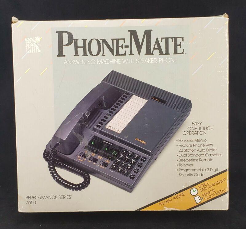 Vintage 1986 PhoneMate 7650 Telephone Answering Machine with Box