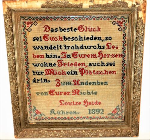 ANTIQUE GERMAN EMBROIDERED VERSE~SAMPLER 1892~PLASTER FRAME