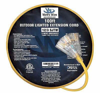 100ft Heavy Duty 12 Gauge Lighted 3 Outlet Extension Cord - 100' 12/3 Out - 100ft Heavy Duty Extension Cord