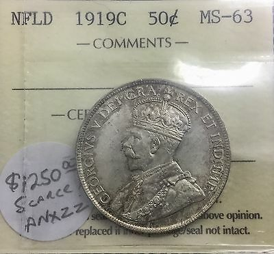 Click now to see the BUY IT NOW Price! NEWFOUNDLAND 1919 C  50 CENTS CHOICE BU  ICCS MS 63 EXCELLENT EYE APPEAL