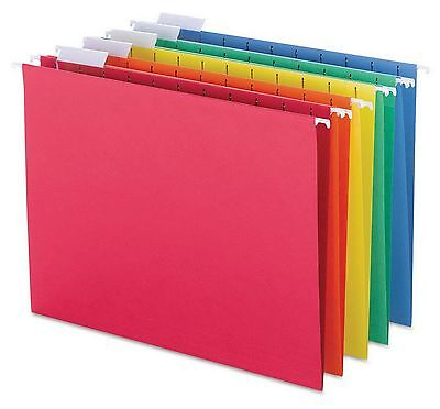 New 25 Multi-color Letter Size Hanging File Folders 15 Cut Tab 11 Point Stock