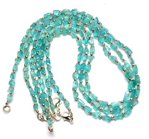 """Natural Green Apatite Gem Rough Unpolished Nugget Beads Necklace 16.5"""" 43Cts."""