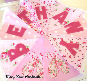Baby Girl Personalised Name BUNTING Luxury DESIGNER fabric PINK Florals.