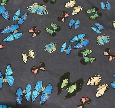 Blue with Butterflies - Silk Chiffon Fabric ()