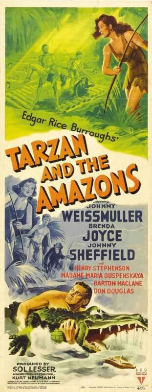 TARZAN AND THE AMAZONS Movie POSTER 14x36 Insert Johnny Weissmuller Brenda Joyce