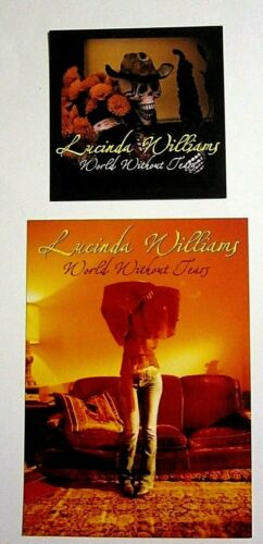 Lucinda Williams 2003 World Without Tears Promo Postcard and Promo Sticker Lot