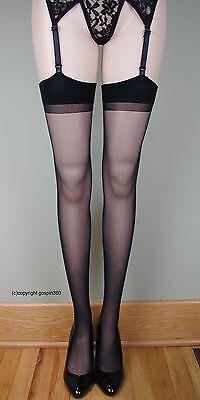 SHEER PLAIN TOP Thigh High Stockings 1725 BLACK O/S & PLUS