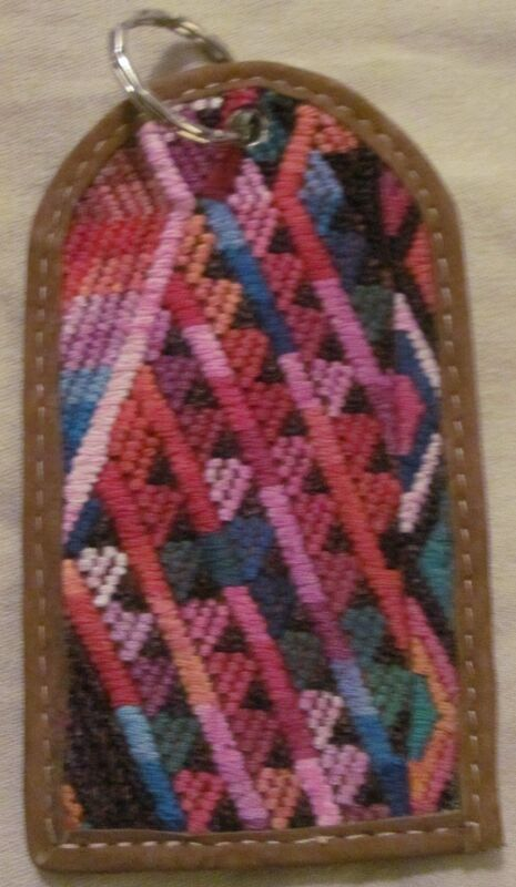 New Gorgeous Handmade Guatemala Huipil Leather Luggage Tag Multi-color