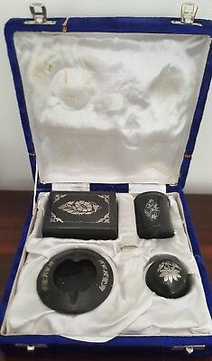 Vintage Indian Bidri Metal with Silver Inlay Smokers Set - Box